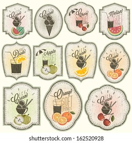 Retro vintage style Soft Drinks and Ice Creams design. Set of Calligraphic titles and symbols for Fruit design. Hand-drawn style. Orange, Melon, Apple and Cherry illustrations. Fruit Vintage Labels