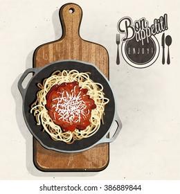 Retro vintage style spaghetti specialties with Cutting Board. Bon appetite.