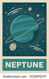Retro and Vintage Style UFO Exploring Planet Neptune Poster