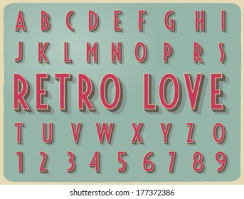 retro vintage style vector reliefed alphabet with shadow and stroke