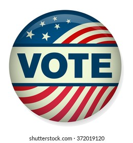 Retro or Vintage Style Vote or Voting Campaign Election Pin Button or Badge.  Use this pin on infographics, blog headers, flyers, or web pages.  Or print it out and create a real pin or badge!
