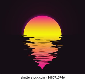 Retro vintage styled bright sunset with reflection on the water sea or ocean vector eps 10 illustration.