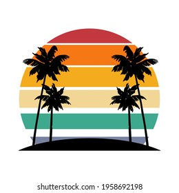 Retro vintage sunset in 80s-90s style. Black silhouettes of palm trees. Striped circle. Vector design template for logo, badges, banners, prints. Isolated white background.