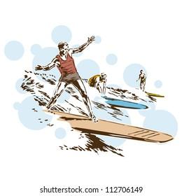 Retro Vintage Surfing Sports Vector