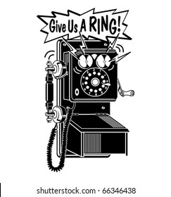 """Retro or vintage telephone ringing with the words """"Give us a ring!"""""""