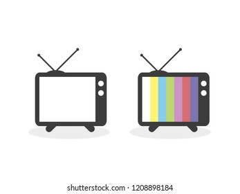 Retro vintage television. Old TV. Screen television on and off. Vector illustration, flat design
