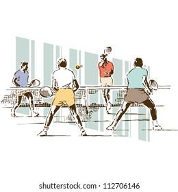 Retro Vintage Tennis Sports Vector