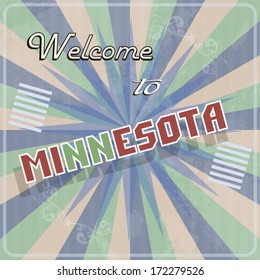 Retro vintage touristic greeting colorful card welcome to Minnesota text illustration