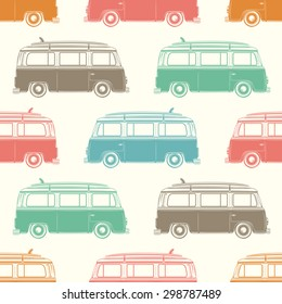 Retro, vintage, travel, camper van, with surfing board, seamless pattern. Vector illustration.