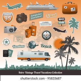 Retro vintage travel icons symbol collection