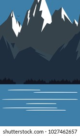 Retro vintage travel landscape poster with mountains and lake