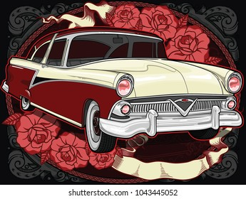 Retro vintage vector 60s, 50s automobile. Old school car with hand drawn ribbon on frame and decorative roses in classic style. Old Border on background. Vintage retro composition from 1950 , 1960.