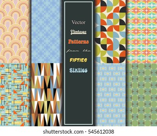 Retro Vintage Vector Patterns from the Fifties, Sixties Geometric Wallpapers Set