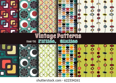 Retro Vintage Vector Patterns from the Fifties, Sixties
