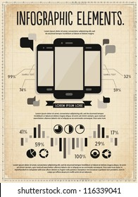 retro vintage vector set of infographic elements for your documents and reports with three touchscreen mobile phone devices