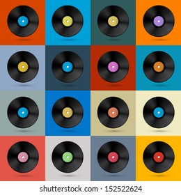 Retro, Vintage Vector Vinyl Record Disc Background
