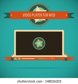 Retro vintage video player interface for web. Vector illustration.