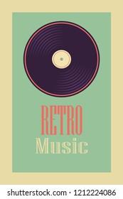Retro, vintage vinyl record banners.