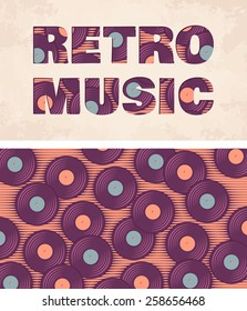Retro, vintage vinyl record soft colored template. Old paper card