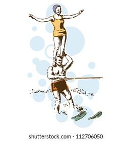 Retro Vintage Water Skiing Sports Vector