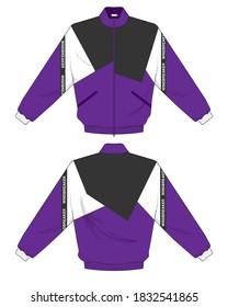 retro vintage windbreaker hoodie jacket template