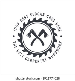 retro vintage, woodwork carpentry logo inspiration. design template, vector illustration