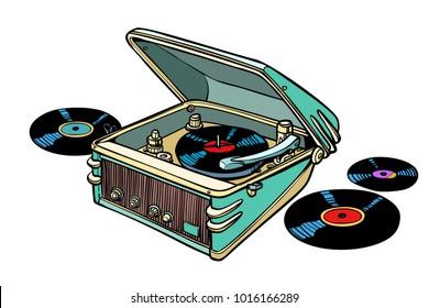 retro vinyl player isolated on white background. Comic book cartoon pop art illustration retro drawing