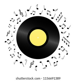 Retro vinyl record card background. Vintage 1980s music illustration.