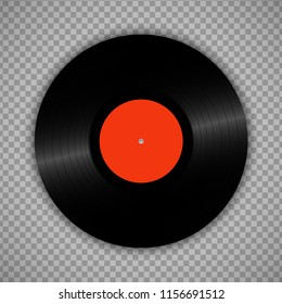 Retro vinyl record isolated on transparent. Vintage 1980s muscal album storage illustration