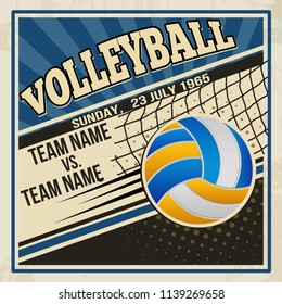 Retro voleyball poster design. Vintage grunge sport flyer concept, vector illustration
