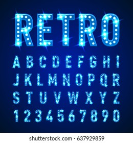 Retro Volumetric Signboard Letters with Light Bulbs in Blue Color