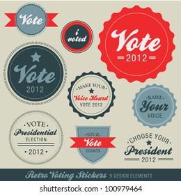 Retro Voting Stickers