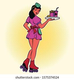 Retro waitress on roller skates. drive-in waitress. 50's diner waitress