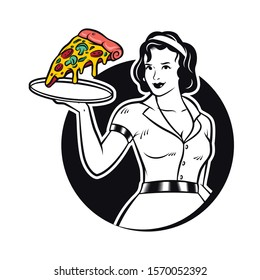 Retro Waitress Serving Pizza Clipart Illustration. Diner Waitress