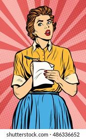Retro waitress takes the order writes down meals, pop art retro vector illustration