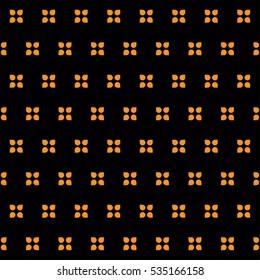 Retro wallpaper fashion floral pattern vector geometric minimalist Orange on Black