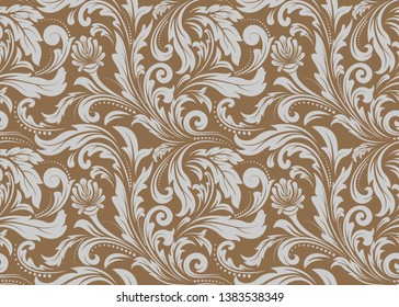 retro wallpaper and vintage seamless pattern for fabric ornament or background ancient, filigree of antique leaf. vector illustration