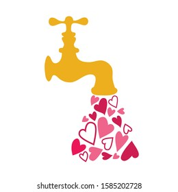 Retro water tap faucet with drops in the form of hearts. Card or print for Valentine's Day. Vector illustration.