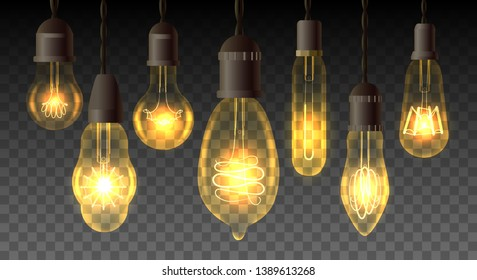 Retro watt bulbs. Steampunk light lamps, vintage vector lamp set, interior decoration lightbulbs with realistic electricity filaments
