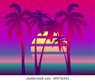 retro wave landscape with palms. Vector futuristic synth retro wave illustration in 1980s posters style