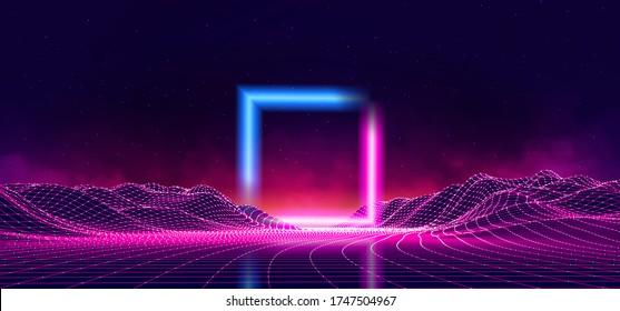 Retro Wave music album cover template with element. Wireframe landscape background. Big Data. Cyberpunk vector illustration. 80s Retro Sci-Fi Background