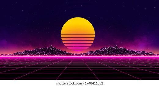 Retro Wave music album cover template with element. Wireframe landscape background. Big Data. Cyberpunk vector illustration. 80s Retro Sci-Fi Background