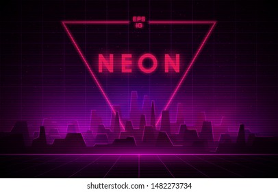 Retro wave night city with laser grid and big neon triangle on background. Futuristic cityscape with glowing neon pink and purple lights and fog on dark background. Eps 10