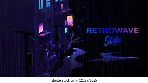 Retro wave style futuristic city street. Neon glowing night lights with rain and puddles. Cyberpunk synth concept design for posters, placards, banners and music covers. Eps10 vector illustration.