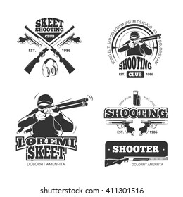 Retro weapons. Shooting vector labels and emblems and hunters club logos. Badges with hunter and guns