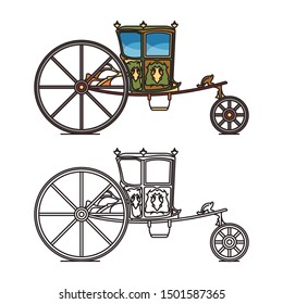 Retro wedding carriage or queen, princess vintage chariot, old buggy or Mesa coach, classic victoria horse transport or marriage perth-cart, royal buggy or fairytale brougham. Medieval cab icon