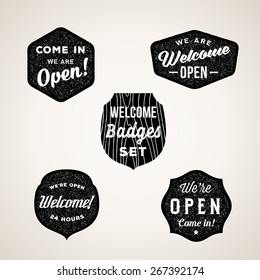 Retro Welcome and Open Signs or Labels. Textured Shapes, Shields with Typography. Isolated.