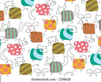 retro whimsical cute farm animals pattern (vector)