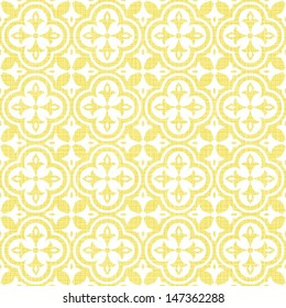 retro white flower shaped elements in rows on sunny yellow background abstract geometric seamless pattern
