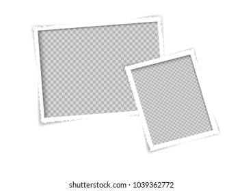 retro White paper photo frame vector design, Torn paper is a picture frame isolated of transparency.